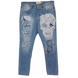 MET - Jeans con ricamo a mano di perle e pietre