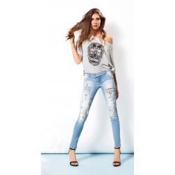 MET - Jeans con rotture e applicazioni