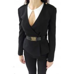 ELISABETTA FRANCHI - Giacca incrociata con cintura