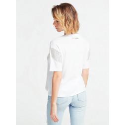 GUESS - T-shirt con scritta e applicazioni strass Art. W0GI76 JA900 TWHT