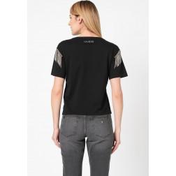 GUESS - T-shirt con scritta e applicazioni strass Art. W0GI76 JA900 JBLK