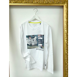 GUESS - T-shirt manica lunga stampa frontale Art. M01I58 K9H10 TWHT