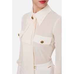ELISABETTA FRANCHI - Camicia con taschini e foulard Art. CA27101E2 193
