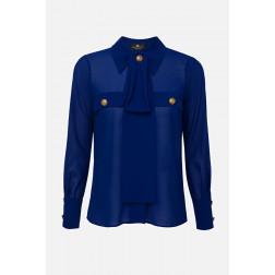 ELISABETTA FRANCHI - Camicia con taschini e foulard Art. CA27101E2 Y01