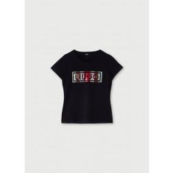 LIU JO SPORT - T-shirt scritta paillettes TF0063 J0088 A3809