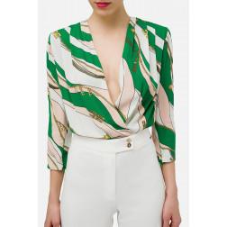 ELISABETTA FRANCHI - Camicia a body stampa foulard Art. CB11002E2 Y25