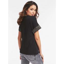 GUESS - T-shirt stampa frontale W0YI52 K7DN0 JBLK