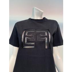 ELISABETTA FRANCHI - T/shirt logo ricamo MA19911E2 110