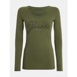 GUESS - T-shirt manica lunga strass W1YI90 J1311 G8DO