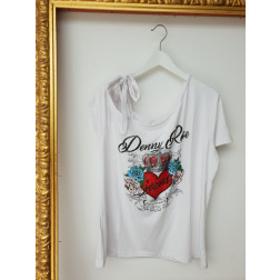 DENNY ROSE - T-shirt con stampa e strass Art. 011ND64027 2100